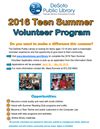 2016 Teen Summer Volunteer Program