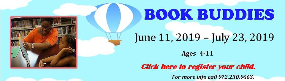 Book Buddies--June 11, 2019 - July 23, 2019 --Ages 4-11
