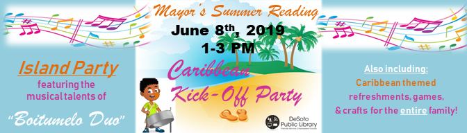 Mayor's Summer Reading 2019--Caribbean Kick-Off Party banner