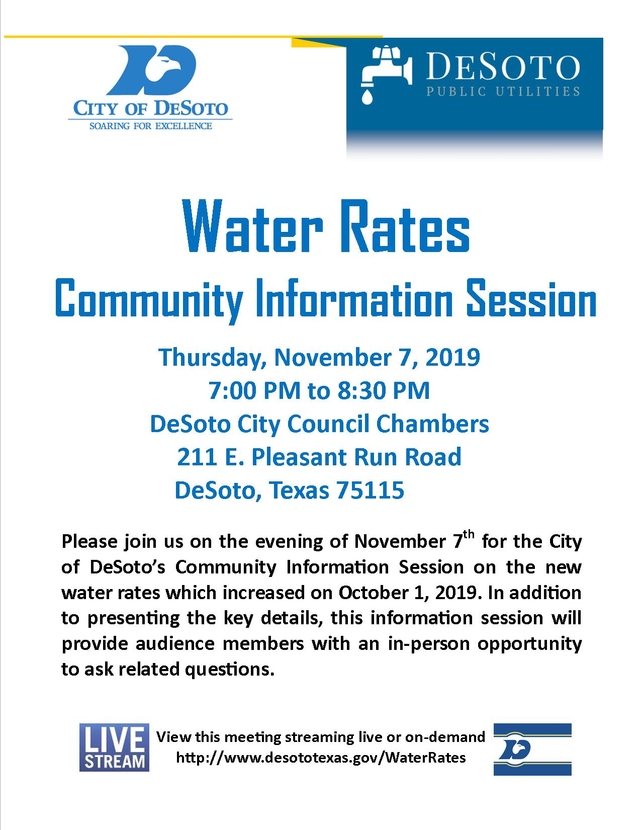 Flyer for DeSoto&#39s November 7th Water Rates Meeting