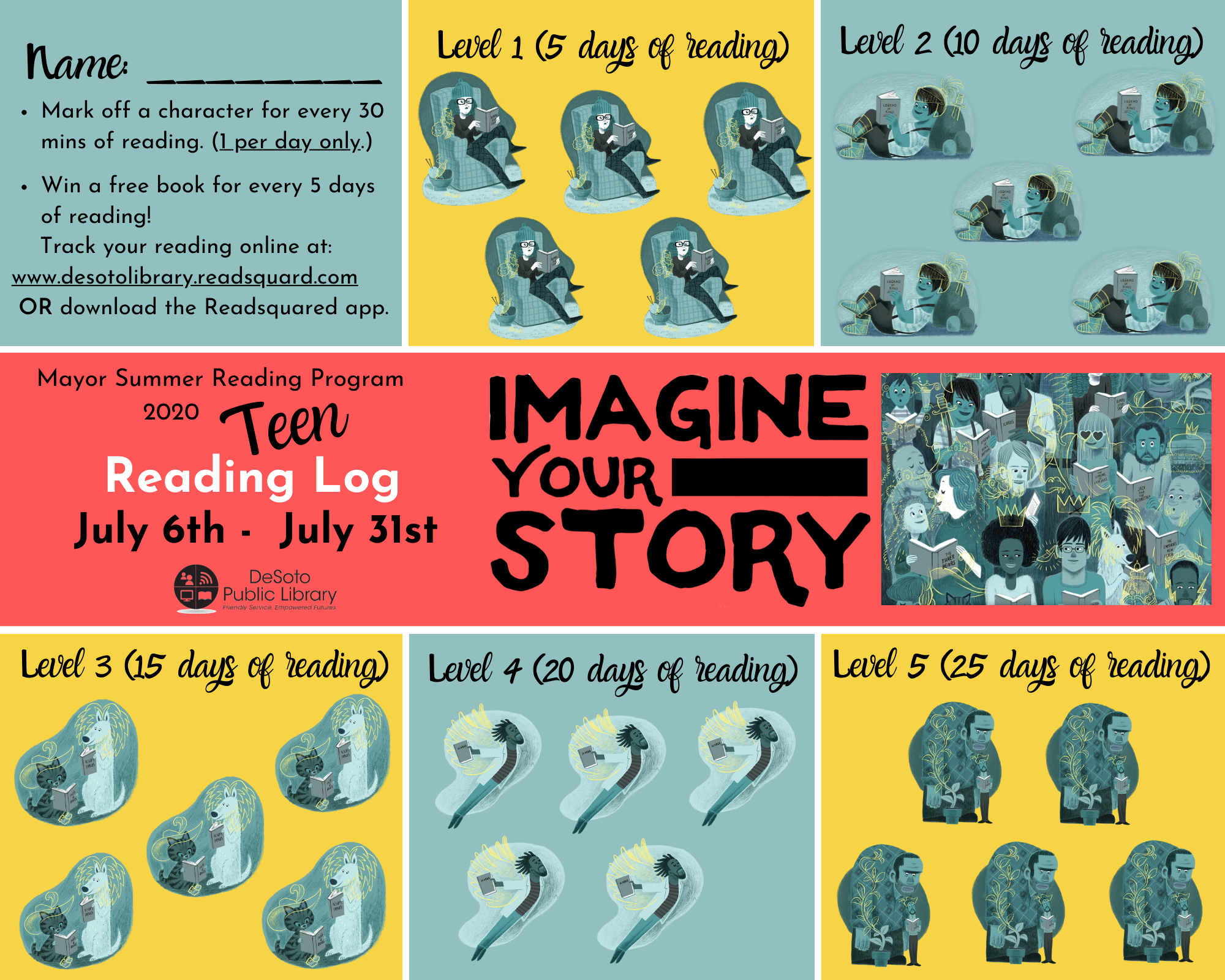 Teen Summer Reading Log 2020 - Click here for a printable version
