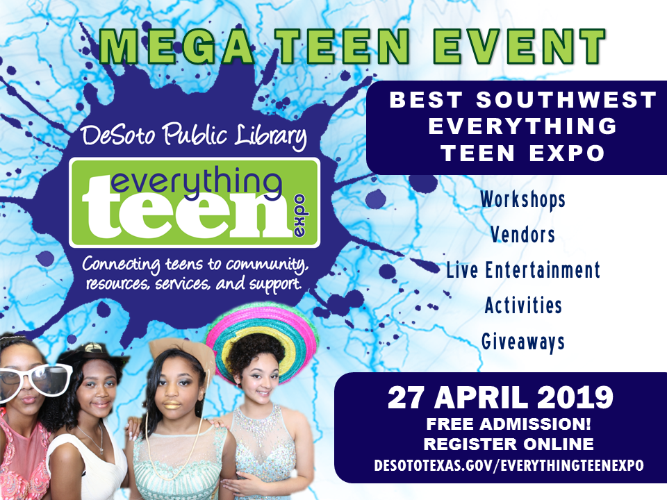 TEEN EXPO blue background